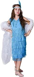 flatwhite Girl 's Fashion Flapper Satin Dress Costume for Children