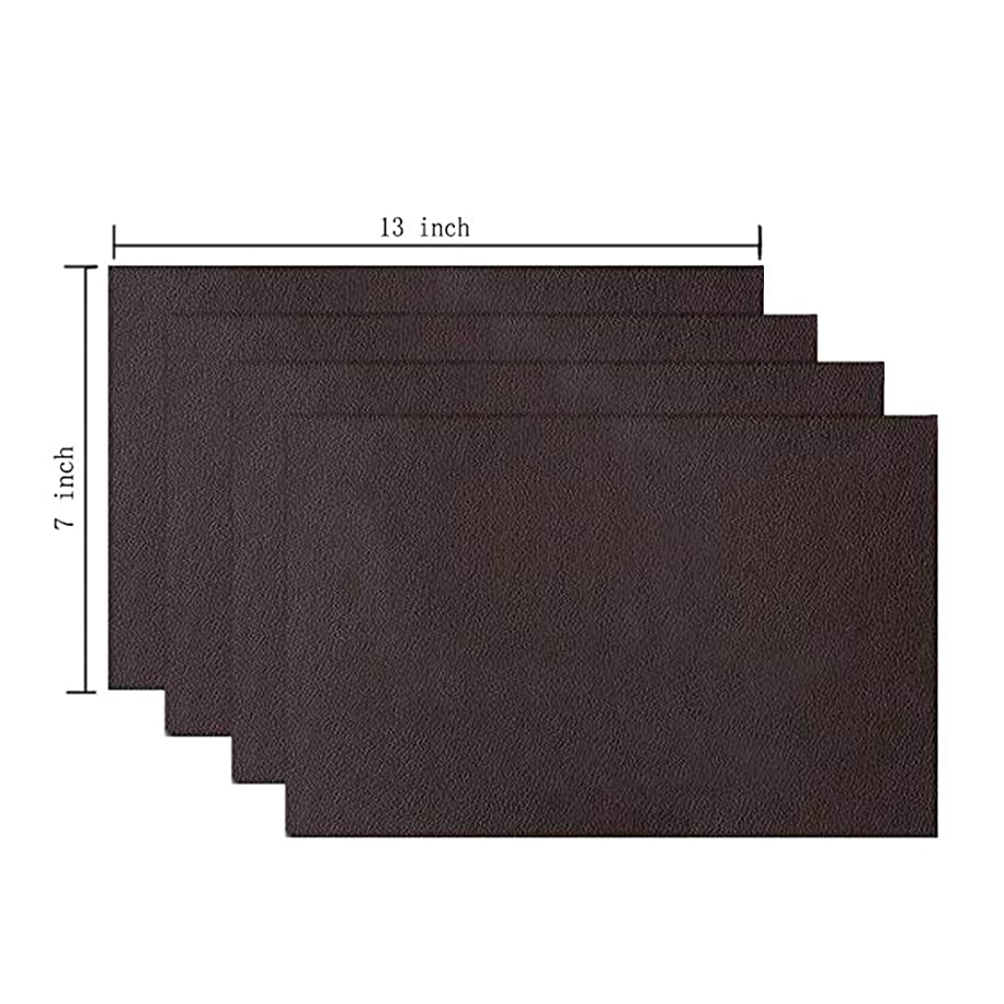 4 Pieces Leather Patch, Adhesive Backing Leather seat Patch for Repair Sofa, Car Seat, Jackets, Handbag, 13 by 7 Inch, Dark Brown