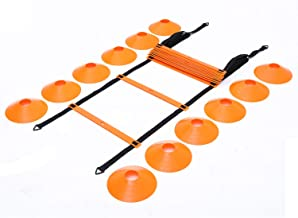 Outroad Speed Agility Training Ladder Set Fitness Equipment Sport Workout Home Gym with 18 ft 12 Rung 12 Cones 4 Metal Stakes and Carrying Bag