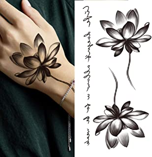 Lotusbloem Tijdelijke Tattoo Vrouwen Meisje Pioen Lelie Rose Ketting Zwarte Bloem Tattoo Sticker Overdraagbare Tattoo-CXQB275
