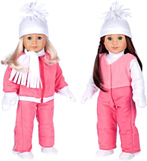 DreamWorld Collections - Let It Snow - 7 Piece Complete Snowsuit - Pink Snow Pants, Jacket, White Turtleneck, Hat, Scarf, Mittens and Boots - 18 Inch Doll Clothes (Doll Not Included)