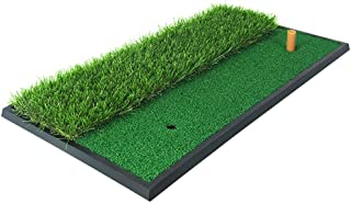 PGM Dual Turf Golf Mat/Hitting Chipping Driving Mat with Rubber Tee/Rough & Fairway Golf Practice Mat for Backyard Home Use/Portable Golf Training Aids/Golf Practice Equipment Indoor & Outdoor