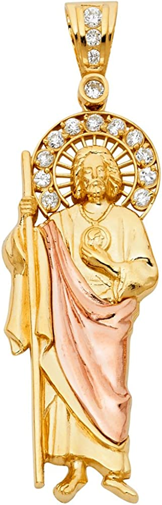 Sonia Jewels 14k Yellow or Rose and Yellow Two Tone or White and Yellow Two Tone Gold Saint Jude Thaddeus Pendant