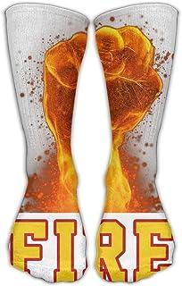 Bigtige, Calcetines de compresión clásicos Puño de fuego Calcetines deportivos blancos deportivos personalizados de 50cm de largo para hombres Mujeres