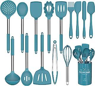 Umite Chef Lot de 15 ustensiles de cuisine en silicone, résistants à la chaleur, anti-adhésifs, sans BPA, poignée en acier...
