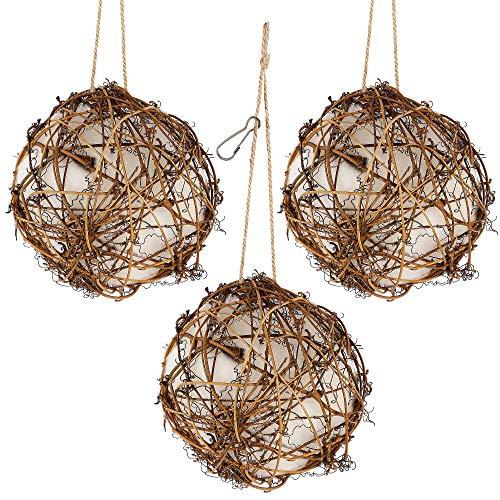 winemana Set of 3 Globe Hummingbird Nesters, Full of Bird Nesting Materials, Design for Bird Lovers, Idea Bird Gifts in Outdoor Indoor Patio Garden