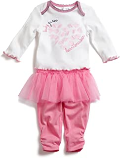Infant Girl's 2 Piece Outfit Long Sleeve Shirt and Pants with Tutu Pink/White