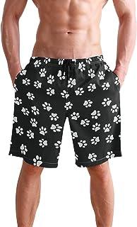 Dog Paw Prints Heart USA Flag Mens Summer Casual Shorts Board Shorts with Pockets