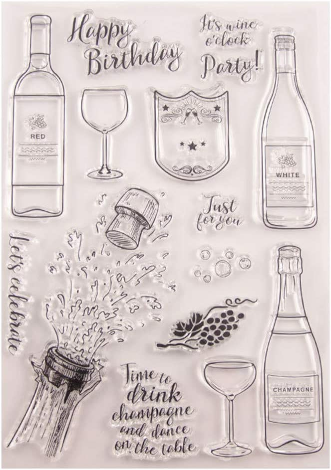Congratulations Wine San Francisco Mall Bottle Happy Birthday Party C Stamps overseas Rubber