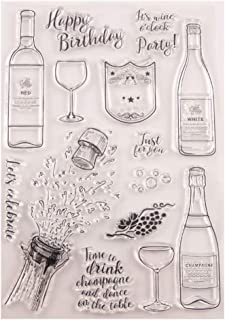 Congratulations Wine Bottle Happy Birthday Party Stamps Rubber Clear Stamp/Seal Scrapbook/Photo Album Decorative Card Making Clear Stamps