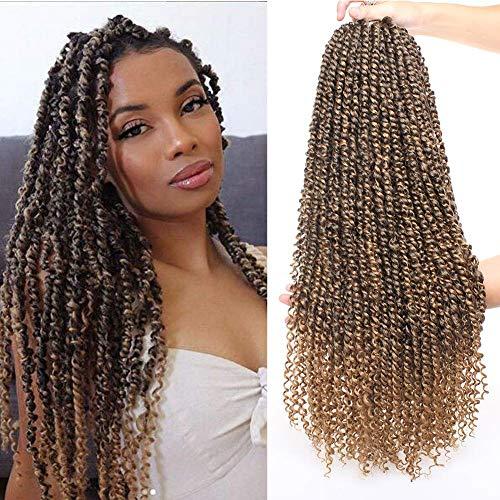 Xtrend 22 pouces 6Packs Pré-torsion Passion Twist Crochet Tresses Cheveux Vague D'eau Pré-torsion Passion Twist Cheveux Synthétique Tressage Extensions 15 Brins / Pack pour les Femmes Noires T27#