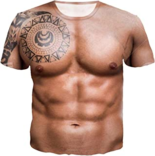 Men T Shirts 2019 New Short Sleeve Humor Funny Tees 3D Printed Muscle Tatoo T Shirt by Lowprofile