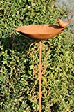 Vogeltränke mit Stab, Verzierungen in Herzform und Vogelfigur   Farbe: Rost-Braun   Maße: 21x18x100cm   Wundervolle Tränke für Haus & Garten