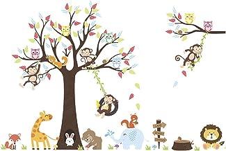 GARNECK Aap Muurstickers Cartoon Dieren Muurstickers Pvc Behang Decoratief Voor Slaapkamer Kinderkamer Kunst Aan de Muur S...