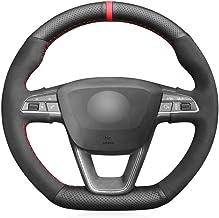 QOHFLD Cubierta del Volante Funda de Volante de Cuero Genuino para Coser a Mano, para Seat Leon Cupra R 2013-2019