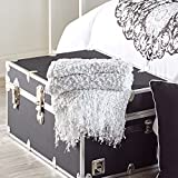 OCM Danette Sequined Fringe Throw in Silver by Thro by Marlo Lorenz