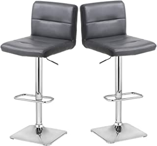 Modern Swivel Barstools with Chrome Base, Adjustable Counter Height Bar Stool, Grey PU Leather Padded with Back, Set of 2, Hold Up to 350lbs