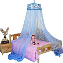 HOUSWEETY Blue New Round Sequins Curtain Dome Bed Canopy Netting Mosquito Net