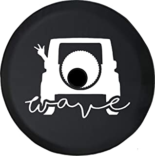 Pike Outdoors JL Series Spare Tire Cover Backup Camera Hole Jeep Wave Wrangler Club Black 33 in
