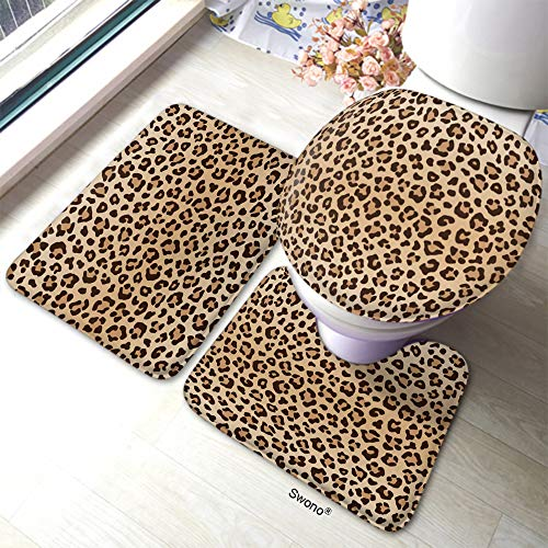 HGOD DESIGNS Leopard Bath Mat,Animal Leopard Print Pattern Bathroom Mat 3 Piece Set Non-Slip Bathmat Antiskid Pad Doormat and Toilet Lid Cover Set