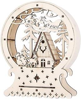 BESTOYARD Maison de Noël Miniature Traîneau en Bois Lumineux LED Decoration Noël Boule avec Renne Arbre Noel Cadeau de Noe...