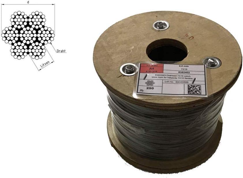 acciaio inox A4/_2,5 Fune metallica in acciaio inox 7X19 morbido
