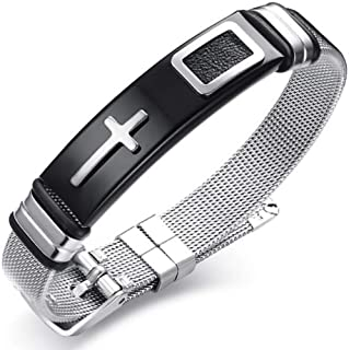 Soul Statement Cross Bracelet for Men Adjustable Stainless Steel Band Confirmation Gifts for Teen Boys