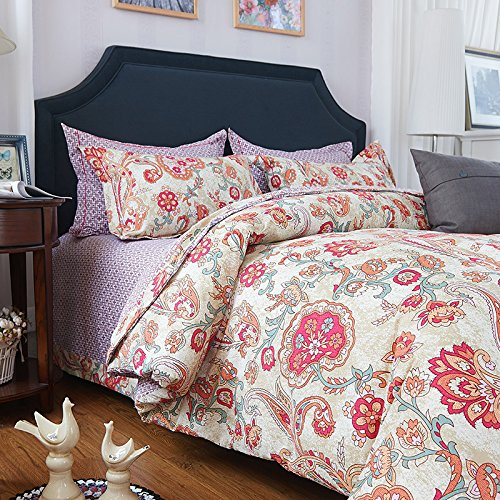 LELVA Boho Bedding Duvet Cover Set Colorful Baroque Style Bedding Cotton 4pc Bohemian Bedding (King, Flat Sheet)