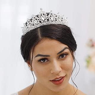 Jovono Princess Wedding Crowns for Women Queen Tiara with Rhinestones for Bride
