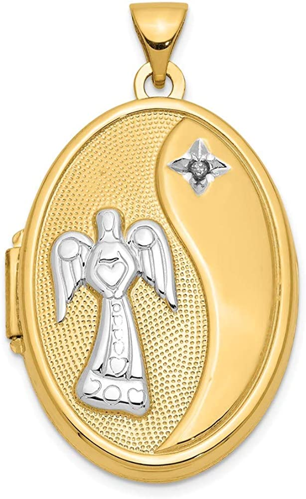 14k Yellow Gold Guardian Angel with Diamond 26mm Oval Locket Pendant Necklace