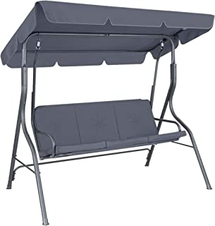 OGL 3 Seater Swing Chair Swing Canopy Waterproof Cover Swing Seat with Cushion & Canopy Garden Patio Furniture Dark Grey