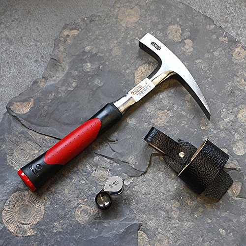 Geologenhammer im Gelände - Paket 4 für z.B. Erstsemester: Schürfhammer, Lupe und Hammerhalter