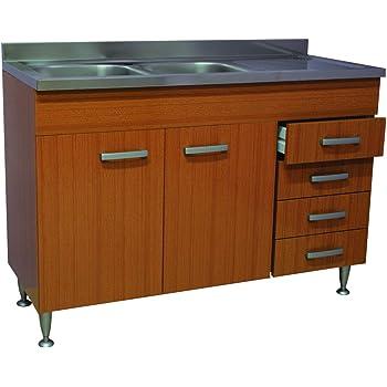 Mobile Cucina Teak 2 Ante Cassettiera Completo Di Lavello Inox 120 Sottolavello Amazon It Casa E Cucina