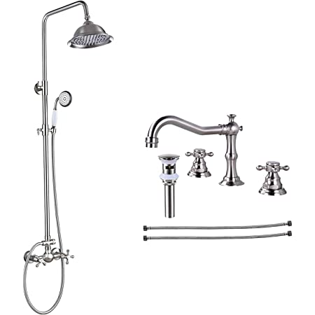 Brushed Nickel Shower Faucet Sets 8 Inch Luxury Rain Shower Head 2 Cross Knobs Shower System With Matching Widespread Bathroom Faucet Brushed Nickel 3 Holes Deck Mounted Victorian Style Amazon Com