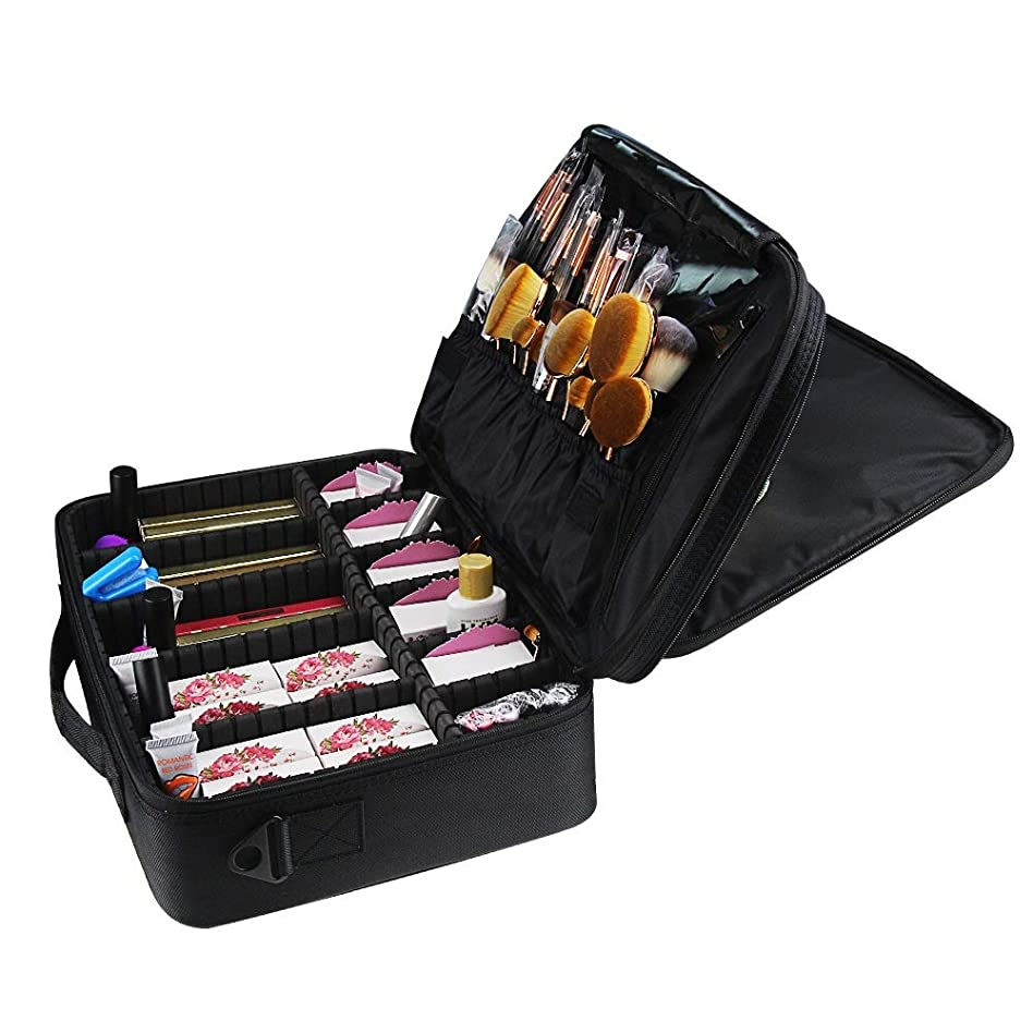 言うまでもなくフリル卑しい特大スペース収納ビューティーボックス 女の子および女性のための調節可能な肩ひものディバイダーの収納箱が付いている旅行化粧品袋の革収納袋 化粧品化粧台 (色 : ブラック)