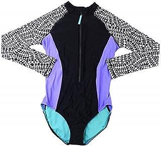 Speedo Womens Size Medium Long Sleeve One-Piece Swimsuit, Black/White