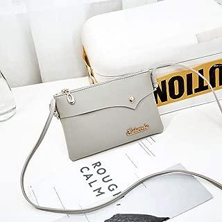 Wultia - Bags Women Retro Solid Color Single Shoulder Bag Handbag Rivets Oblique Cross Bag Logo Letter Bolsa Feminina #0.9 Gray