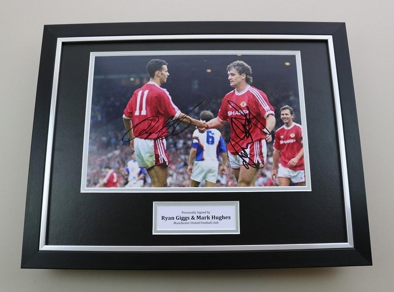 Up North Memorabilia Ryan Giggs & Mark Hughes Signed Photo Framed 16x12 Man Utd Autograph Display COA
