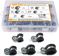42Pcs Cable Clamp Zinc Plated Steel Rubber Cushioned Insulated Pipe Clamps Assortment Kit with 5 Size 1/4'' 5/16'' 3/8'' 1/2'' 5/8''