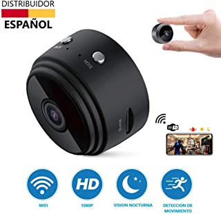 Mini Camara Espia Oculta WiFi Video Cámara Tecnoxer 1080P HD Cámara Portátil Interior/Camaras de Seguridad Pequeña Interior/Exterior/IR Visión Nocturna