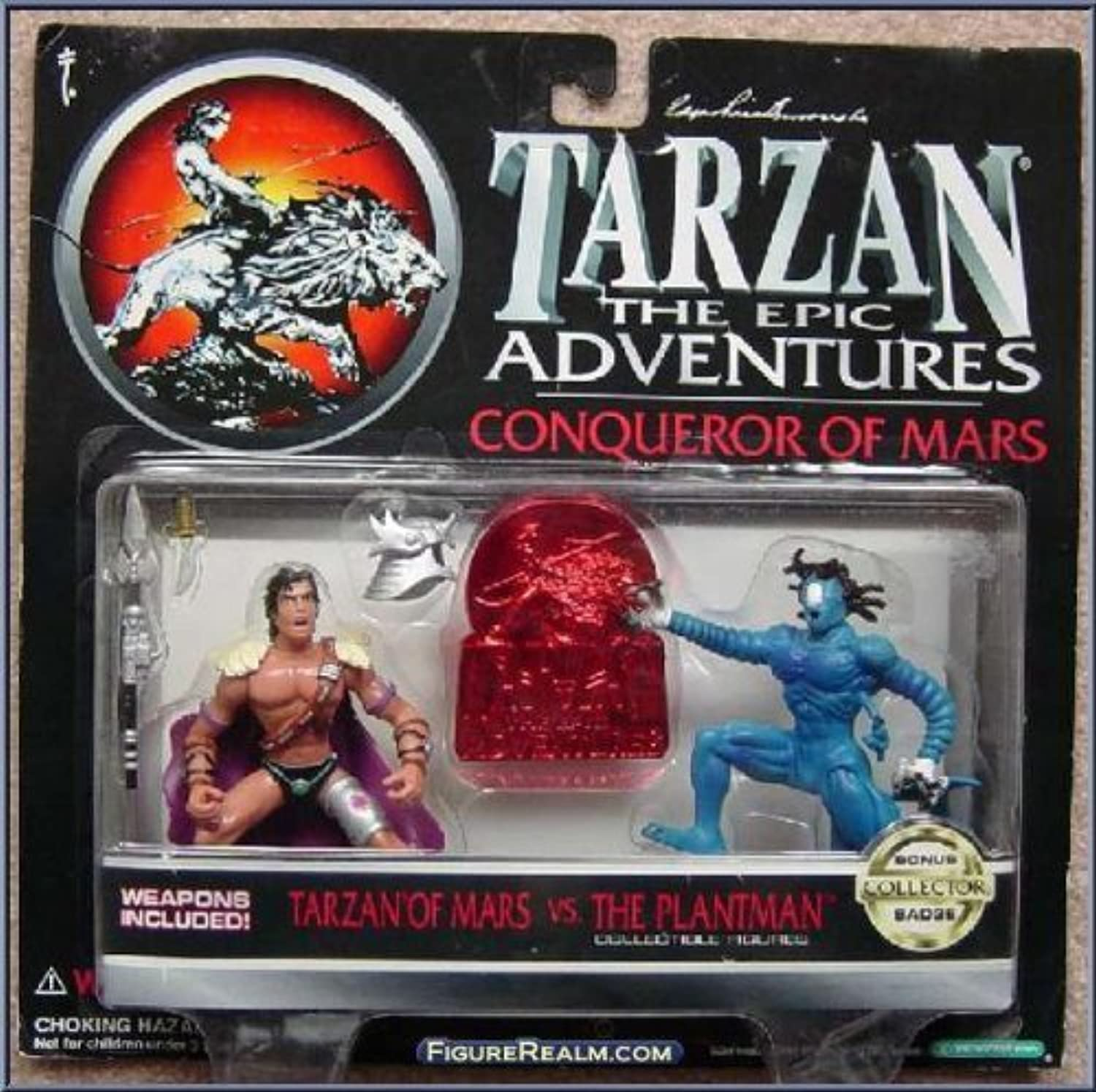 TARZAN, THE EPIC ADVENTURES, EDGAR RICE BURROUGH'S TARZAN, CONQUEROR OF MARS, TARZAN OF MARS vs THE PLANTMAN COLLECTIBLE FIGURES, WITH WEAPONS AND BONUS COLLECTOR BADGE by Trendmasters