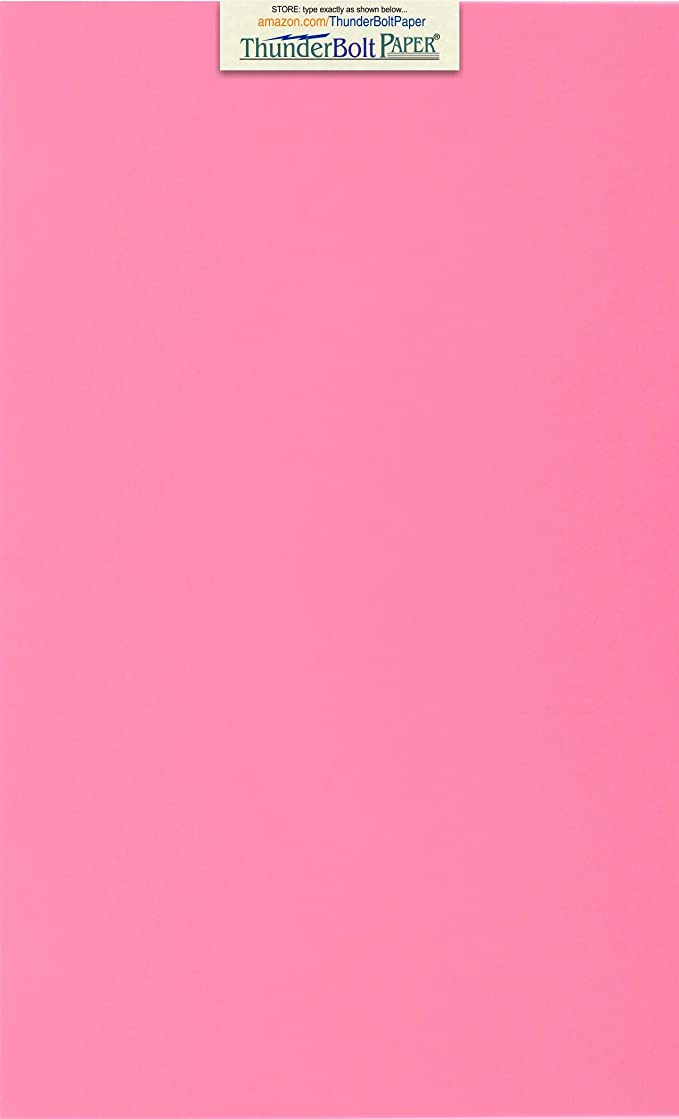 100 Bright Pink 65lb Cover Card Paper - 8.5 X 14 Inches Legal & Menu Size - 65 lb/Pound Light Weight Cardstock - Quality Printable Smooth Surface for Bright Colorful Results