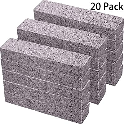 Pumice Stones for Cleaning - Pumice Scouring Pad, Grey Pumice Stick Cleaner for Removing Toilet Bowl Ring, Bath, Household, Kitchen, Pool, 5.9 x 1.4 x 0.9 Inch (20 Pieces)
