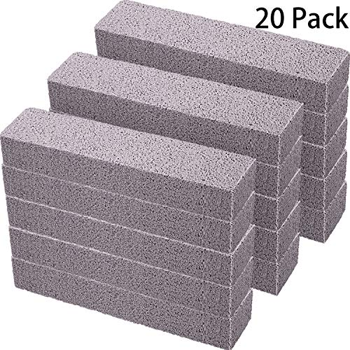 20 Pieces Pumice Stones for Cleaning - Pumice Scouring Pad, Pumice Stick Cleaner for Removing Toilet Bowl Ring, Bath, Household, Kitchen, Pool, 5.9 x 1.4 x 0.9 Inch (Gray)