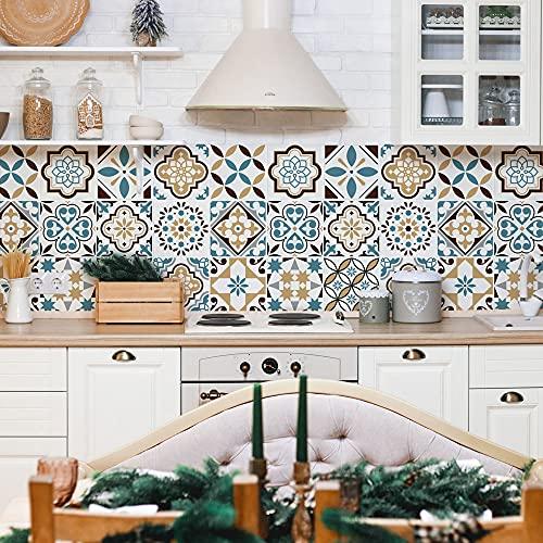 PS00240 - Juego de 24 pegatinas de 10 x 10 cm, fabricadas en Italia, decoración adhesiva para azulejos de vinilo para baño y cocina