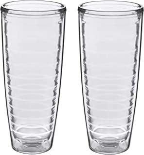 2-pack Insulated 26 Ounce Tumblers - BPA-Free - Made in USA - Clear (26oz Insulated Glasses)