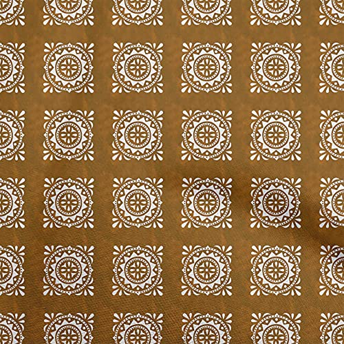 oneOone Cotton Cambric Orange Fabric Block DIY Clothing Quilting Fabric Print Fabric by Yard 42 Inch Wide-D4