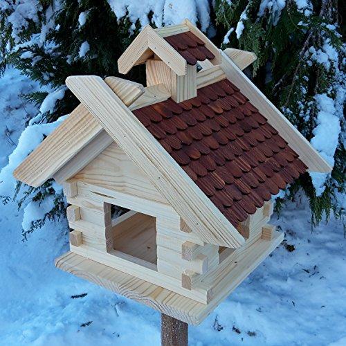 Großes XXL Vogelhaus Schreinerarbeit Futterhaus Vogelhäuschen -- Wetterschutz lasiert -- Blockhaus Holz Vogelhäuser (Braun)