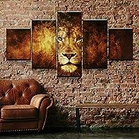SJVR 5枚パネル 5つのキャンバス絵画 抽象ライオンヘッドポスター5個モダンな家の壁の装飾キャンバスピクチャーアートリビングルームのキャンバスにHDプリント絵画 フレームなし