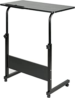 DOEWORKS Side Table, Adjustable Laptop Stand Portable Cart Tray Side Table, Black Studying Desk
